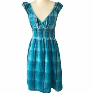 SPEED CONTROL Dress Blue Plaid Cotton Casual